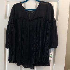 INC black blouse with pleats Size L